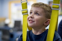 Lukas Adams, 5, participates in the Kids STEP Study at UF and Brooks Rehabilitation.